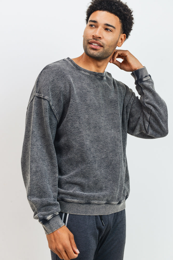 Mineral Wash Cotton Jacquard Pullover in Black | Allure Apparel Co