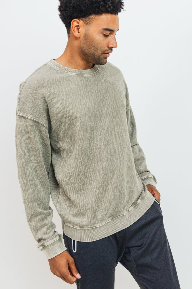 Mineral Wash Cotton Jacquard Pullover in Taupe | Allure Apparel Co
