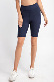 Detailed High-Rise Butter Biker Shorts in Navy | Allure Apparel Co