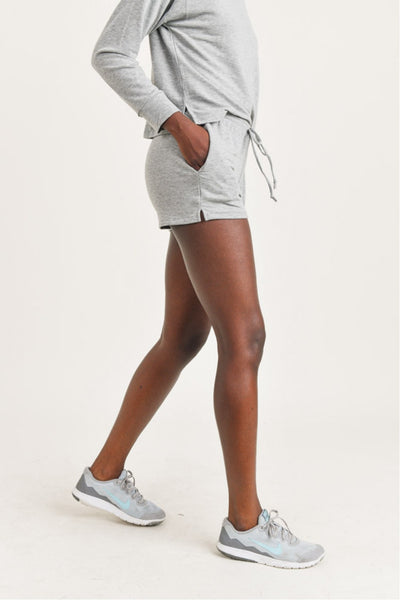 Notched Side French Terry Short Shorts in Heather Grey | Allure Apparel Co