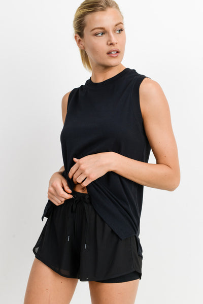 Notched Sleeveless Flowy Tank Top in Black | Allure Apparel Co