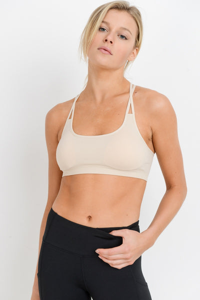 O-Ring Back Seamless Sports Bra in Natural | Allure Apparel Co