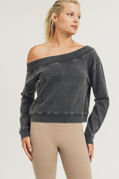 Off-Shoulder Hi-Lo Mineral-Washed Pullover in Black | Allure Apparel Co