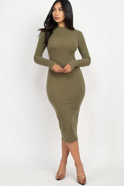 Mock Neck Ribbed Bodycon Dress in Olive | Allure Apparel Co