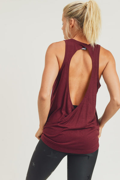Open Overlay Back Tank Top in Burgundy | Allure Apparel Co