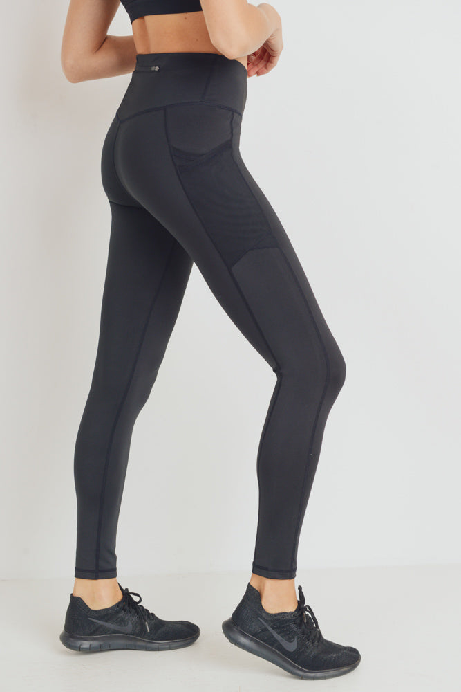 Overlay Mesh Pocket High Waisted Leggings in Black | Allure Apparel Co