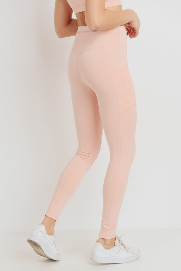 Overlay Mesh Pocket High Waisted Leggings in Cantaloupe | Allure Apparel Co