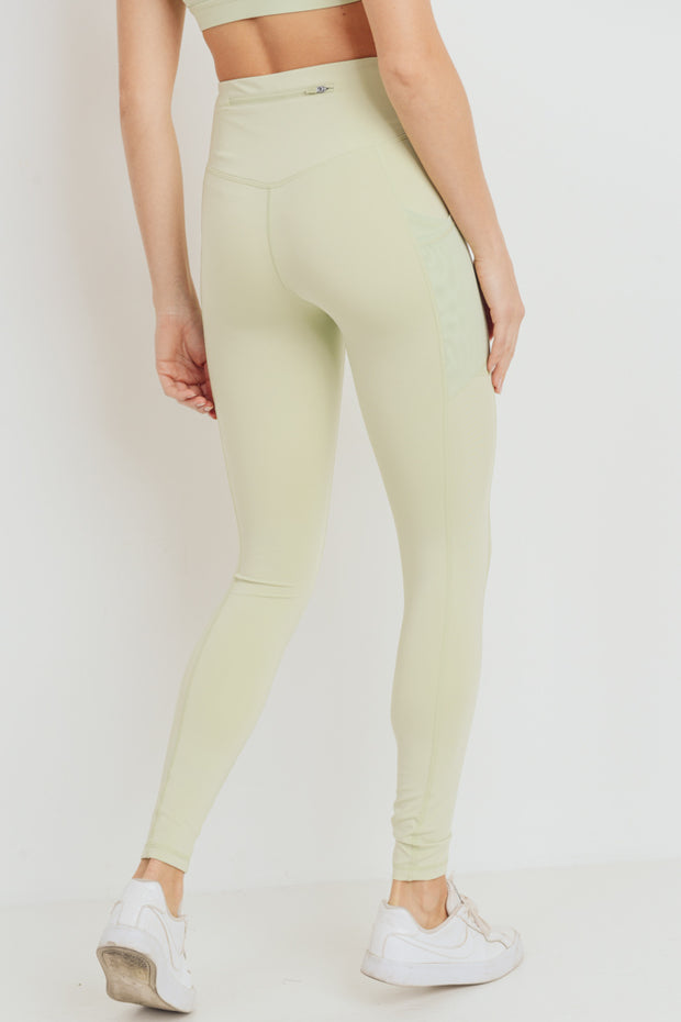 Overlay Mesh Pocket High Waisted Leggings in Moss Green | Allure Apparel Co