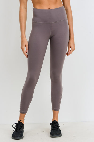 Perforated High Waisted Performance Leggings in Mocha Mauve | Allure Apparel Co