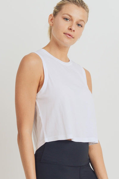 Pinch-Stitch Back Flow Crop Top in White | Allure Apparel Co
