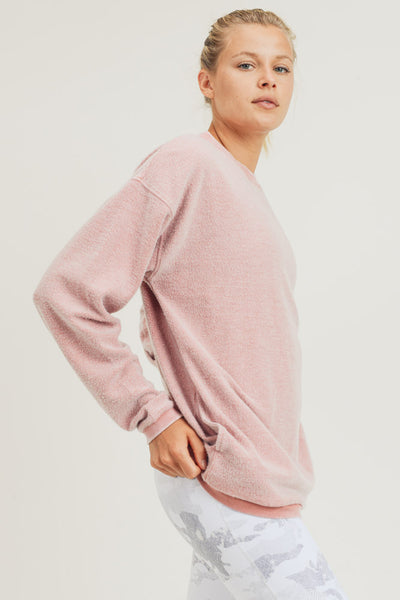 Pocket Fuzzy Mineral-Washed Pullover in Dusty Pink | Allure Apparel Co