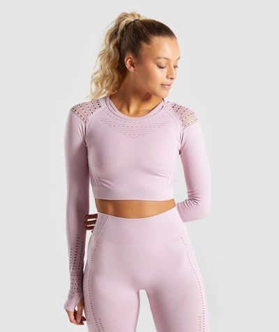 Vital Shoulder Mesh Long Sleeve Athletic Crop Top in Piggy Pink | Allure Apparel Co