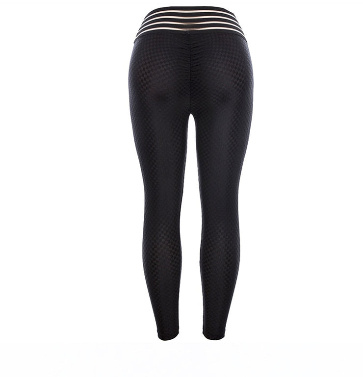 back view Breathable Pattern High Waist Push Up Scrunch Leggings