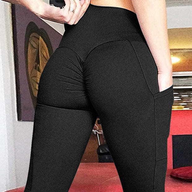 Women's High Waisted Bottom Scrunch Push Up Leggings with Pocket in Black | Allure Apparel Co