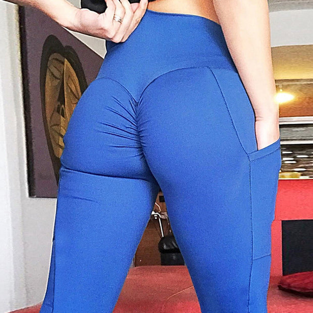 Women's High Waisted Bottom Scrunch Push Up Leggings with Pocket in Blue | Allure Apparel Co