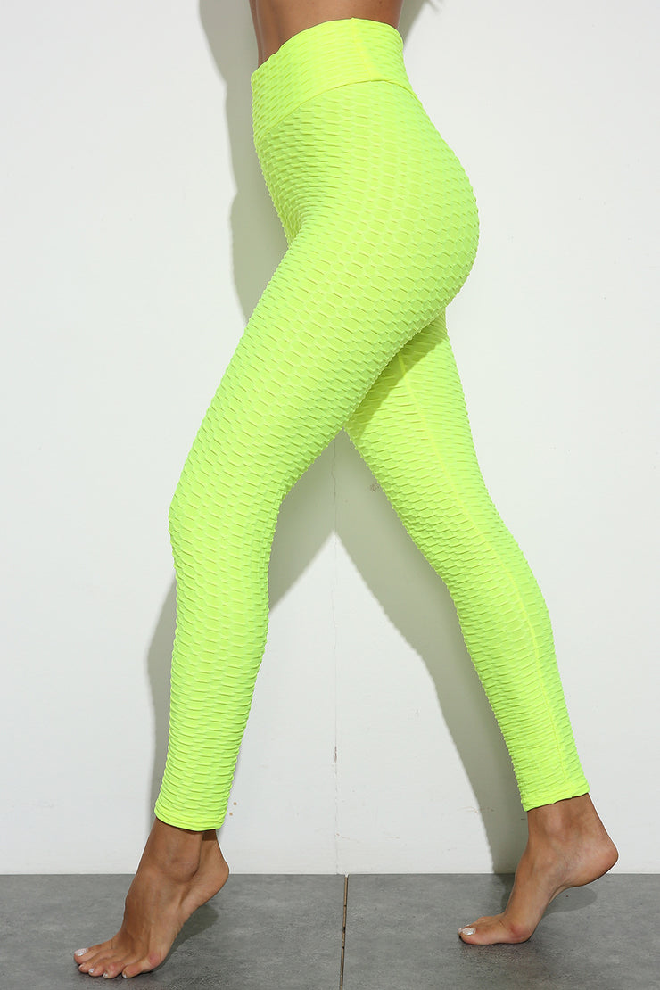 Push Up Workout Leggings in Fluorescent Yellow | Allure Apparel Co