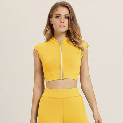 Quick Dry Front Zipper Sportswear Vest in Mustard Yellow | Allure Apparel Co