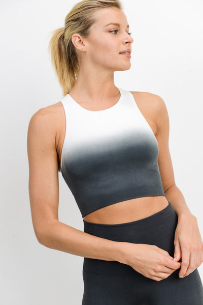 Racerback Dip-Dye Ribbed Gradient Sports Bra in Grey | Allure Apparel Co