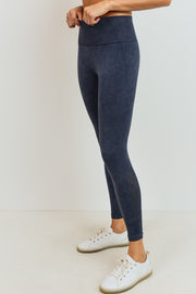 Ribbed and Dotted Mineral Wash Seamless Leggings in Black | Allure Apparel Co