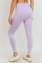 Ribbed and Dotted Mineral Wash Seamless Leggings in Lavender | Allure Apparel Co