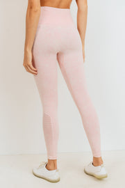 Ribbed and Dotted Mineral Wash Seamless Leggings in Peach | Allure Apparel Co