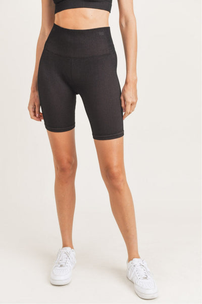 Ribbed Brush Seamless Bermuda Shorts in Black/Rust | Allure Apparel Co