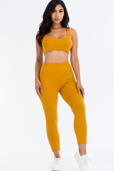 Ribbed Knit Sports Bra and Leggings Set in Nugget Gold | Allure Apparel Co
