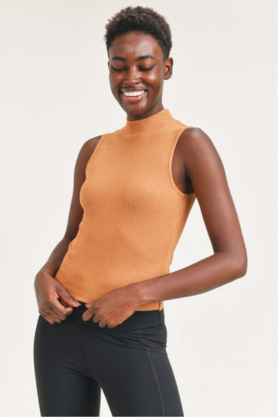 Ribbed Mock Neck Tank Top in Brown | Allure Apparel Co