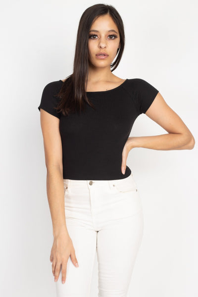 Ribbed Off The Shoulder Top in Black | Allure Apparel Co