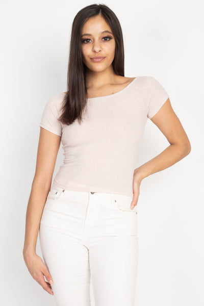 Ribbed Off The Shoulder Top in Light Pink | Allure Apparel Co