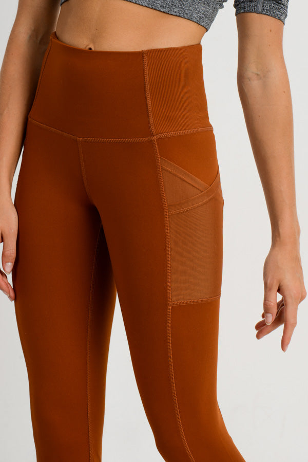 Ribbed Overlay Side Pocket Full Leggings in Acorn | Allure Apparel Co