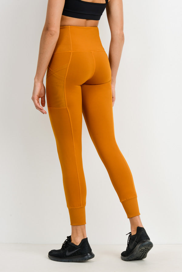 Ribbed Overlay Side Pocket Full Leggings in Ambergold | Allure Apparel Co