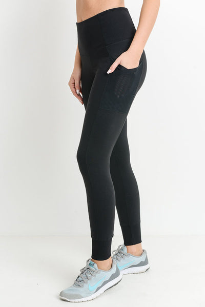 Ribbed Overlay Side Pocket Full Leggings in Black | Allure Apparel Co