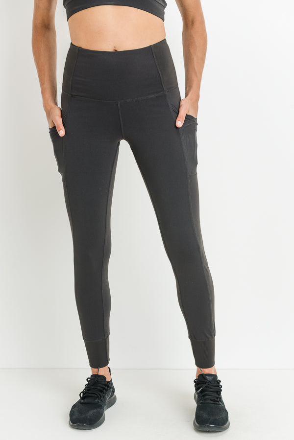 Ribbed Overlay Side Pocket Full Leggings in Charcoal Grey | Allure Apparel Co