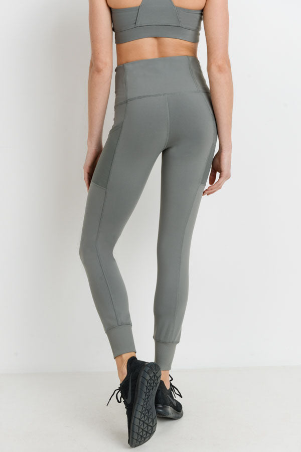 Ribbed Overlay Side Pocket Full Leggings in Green | Allure Apparel Co