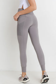 Ribbed Overlay Side Pocket Full Leggings in Mauve | Allure Apparel Co