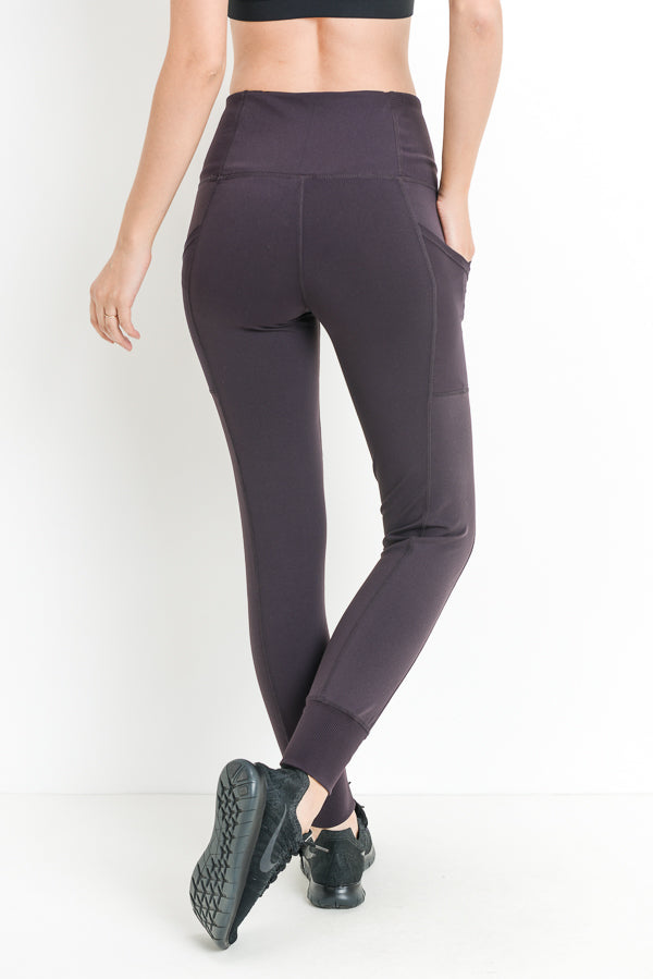 Ribbed Overlay Side Pocket Full Leggings in Plum | Allure Apparel Co