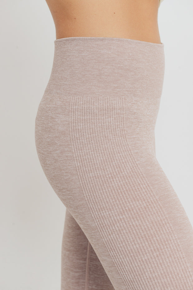 Ribbed Side Track Seamless Melange Leggings in Almond | Allure Apparel Co