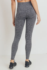 Ribbed Side Track Seamless Melange Leggings in Black | Allure Apparel Co