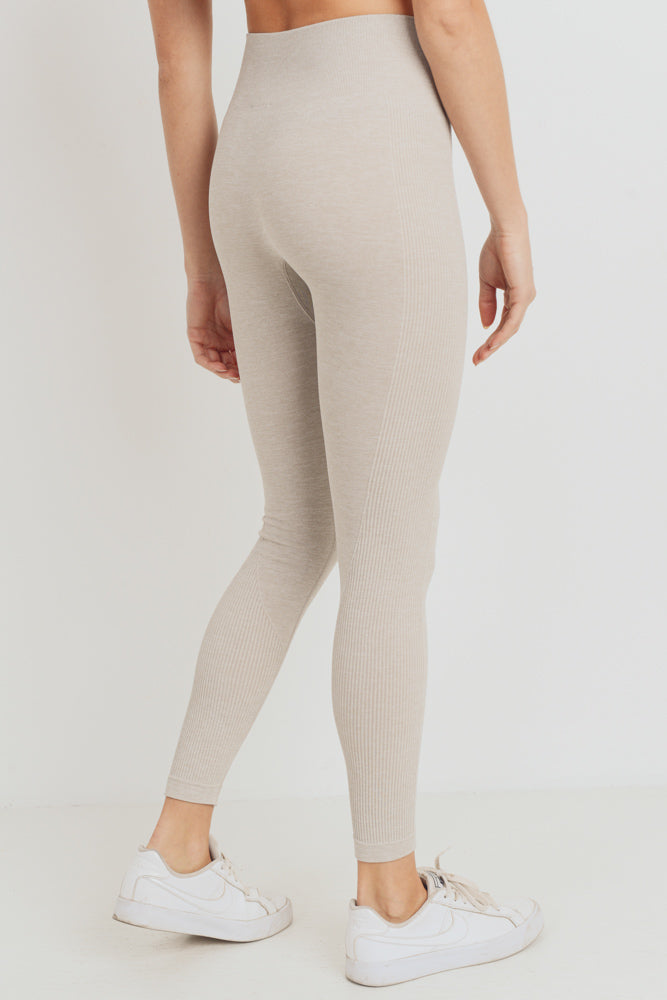 Ribbed Side Track Seamless Melange Leggings in Sand | Allure Apparel Co