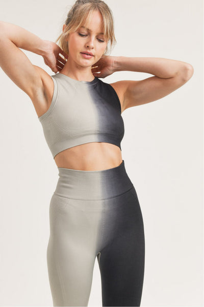 Ribbed Split Dye Seamless Sports Bra in Light Grey/Black | Allure Apparel Co