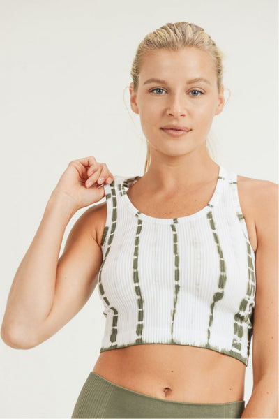 Ribbed Tie-Dye Seamless Active Cropped Top in Olive | Allure Apparel Co