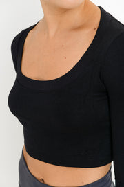 Seamless Deep Neck Crop Top in Black | Allure Apparel Co