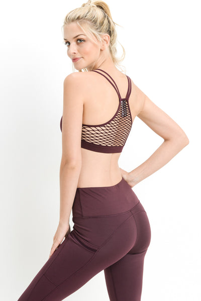 Seamless Fishnet Back Athletic Leisure Sports Bra in Burgundy | Allure Apparel Co
