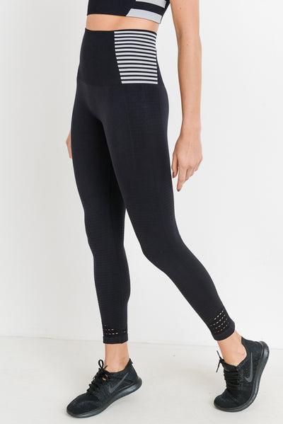Seamless High Waisted Perforated Stripe Leggings | Allure Apparel Co