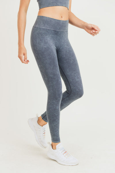 Seamless High Waisted Slanted Rib Mineral Wash Leggings in Black | Allure Apparel Co