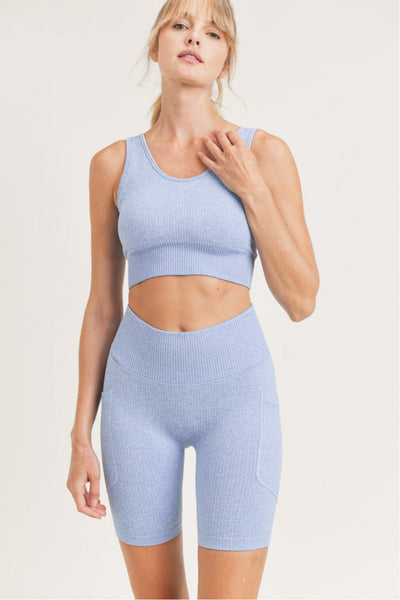 Seamless Hybrid Sports Bra in Blue | Allure Apparel Co