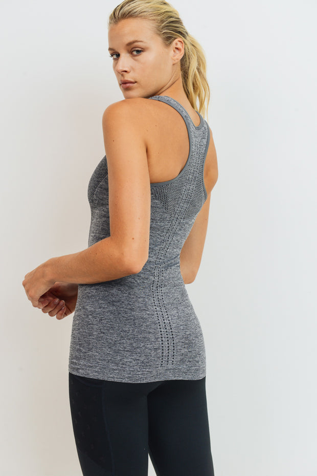 Seamless Illusion Racerback Tank Top in Heather Grey | Allure Apparel Co