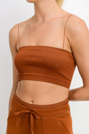 Seamless Micro Strap Ribbed Tube Top in Acorn | Allure Apparel Co