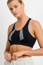 Seamless Overlay Strap Back Sports Bra | Allure Apparel Co